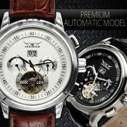 【全針稼動の本格仕様】テンプスケルトン・ビッグフェイス自動巻き腕時計【保証書付】