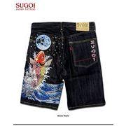 ★これだけ豪華な刺繍は見たことが無い!★「SUGOI」の和柄刺繍デニムハーフパンツ!(地球鯉)★