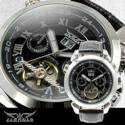 【全針稼動の本格仕様】★インナーベゼルビッグフェイス自動巻きマルチファンクション腕時計【保証書付】