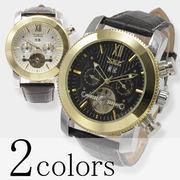 【全針稼動の本格仕様】★マルチファンクション自動巻き腕時計【全2色】★