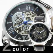 【全針稼動の本格仕様】★ビッグフェイス スケルトン 自動巻き腕時計 BCG111【保証書付】