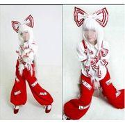 【LUGANO】 東方project  東方永夜抄 藤原 妹紅ウイッグ+コスプレ衣装完全オーダーメイド