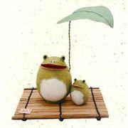 【ご紹介します!和雑貨!ちぎり和紙シリーズ!安心の日本製です】雨宿り親子かえる