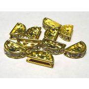 半円 ロンデル 2つ穴 ゴールド 約13×7mm【10個セット】