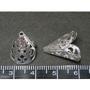 エンドキャップ 古代銀 約17mm 内径13mm 通し穴1.5mm【20個セット】