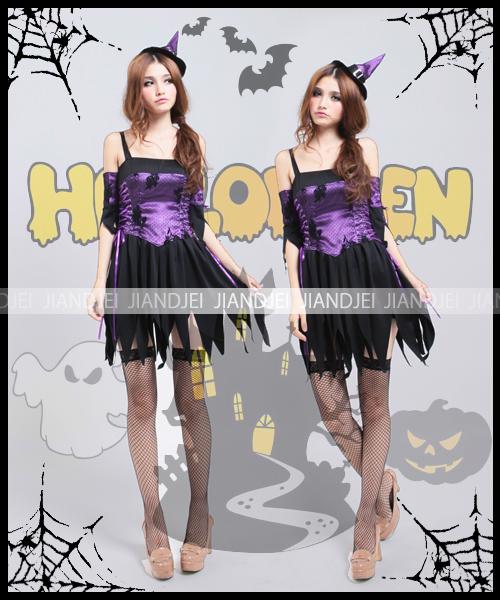 ハロウィン 魔女 紫×黒 童話 コスプレ  7669