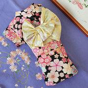 日本製  セレブスタイル  高品質ペットウェア 犬服の着物花もよう黒  SS/S/M/MD-M/L