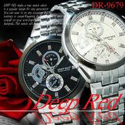 ケースあり&なしOK◇メタルバンド デザイン クロノグラフ ウォッチ メンズ 男性用 腕時計◇DR-9679