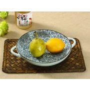 【強化】 取っ手付き丸皿(青い花集い)    おうち料亭/中皿/大皿/丸皿/和食器