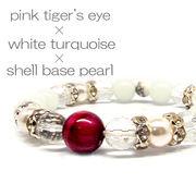 天然石 ピンクタイガーアイ 水晶 ムーンストーン デザインブレスレット 《SION パワーストーン 天然石》
