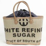 プラスチック砂糖シートかごバッグ 革ハンドル (内アラボラ)