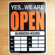 アメリカン雑貨 看板 プラスチックサインボード  Open/Closed(時間記入可/両面プリント) CA-20