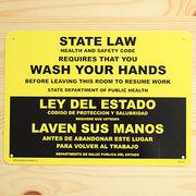 アメリカン雑貨 看板 プラスチックサインボード 手洗い厳守 State Law/Wash Your Hands CA-15