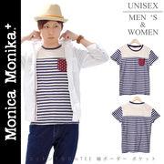 Monica Monika+ コットン100% 細ボーダー ポケットTシャツ