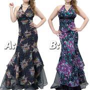 裾オーガンジ-華やかプリントドレス