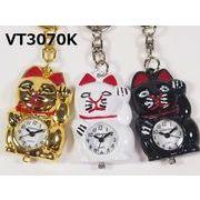 VITAROSOホルダー時計 招き猫 日本製ムーブメント