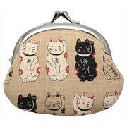 和柄財布 男物3.3寸がま口 招き猫ベージュ