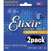 2個セット Elixir エリクサー エレキギター弦 #12002 NANOWEB Super Light .009-.042
