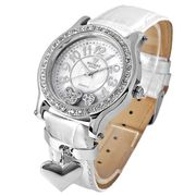 Disney ミッキー ハート チャーム 腕時計 ホワイトベルト×シルバーカラー NFC120029