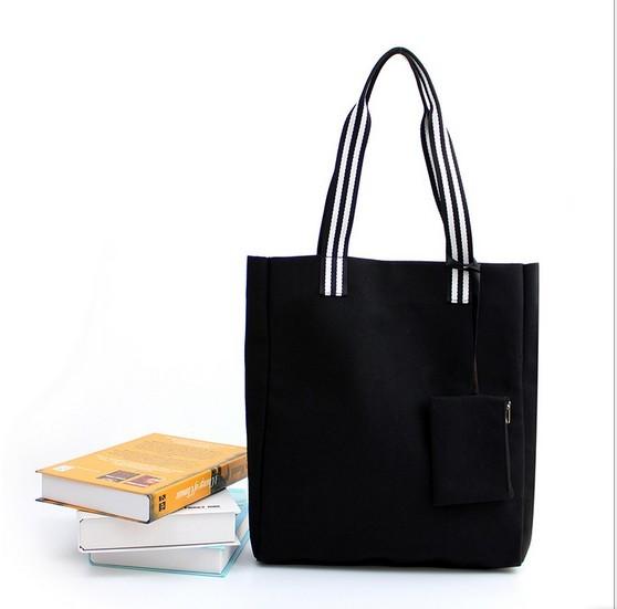 帆布トートバッグ買い物袋小銭入り付き2色・ブラック