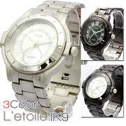 【L'etoile】ビッグフェイス スタイリッシュ メンズ 腕時計 IK9