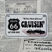 好きな文字にできるアメリカナンバープレート(中・USバイク用サイズ)ルート66ホワイト