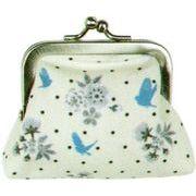 LES INVASIONS EPHEMERES がま口 財布 (小) 青い鳥と花