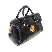 レザーボストンバッグ トートバック カバン 鞄 セレブ系 クロコ柄 ブラック
