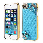 iPhoneSE / iPhone5s iPhone SE iPhone 5s ラインストーンケース ダイヤモンドバタフライ  ブルー