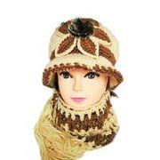 帽子 レディース ニット帽子D マフラーセット 毛糸帽子 6色