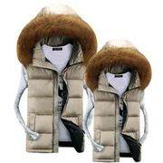 フード付き ベスト ダウン ファスナー キルディング 厚手 軽量 中綿 防寒 男女兼用