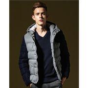 欧米風厚地メンズ中綿ダウンジャケット  バイカラー 綿入りスリム暖かいアウターコート ダウンコート