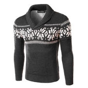 雪柄ショールカラーニット セーター メンズ 4色 100766