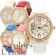 【L'etoile】輝くラインストーンベゼル レディース腕時計 LB5