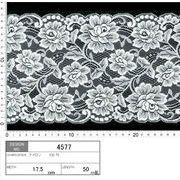 【メーカー直販】★レース巾17.5cm エレガントなバラ柄のレース♪ 5m~/オフ白