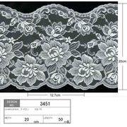 【メーカー直販】★レース巾20cm 巾に変化のある花柄レース・ラッセルレース 5m~/オフ白