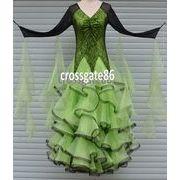 a114b【社交ダンス】輝き、モダンなダンスドレス[緑]★