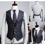 デニムベスト ジャケット  オフィス スーツベスト 結婚式メンズ ビジネス通勤 紳士 チョッキ二次会 礼服
