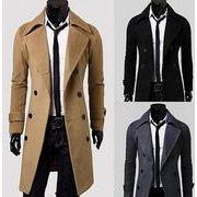 スプリングコート  ラシャコート  男性ビジネス   通勤ロング ジャケット   チェスター ダブル紳士ツイード