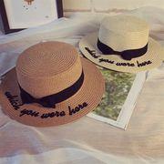 05778431 リボンハットバンド付レター柄刺繍カンカン帽