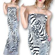 裾オーガンジーエレガントプリントドレス
