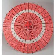 和傘-蛇の目傘 花輪赤 (装飾用)日傘