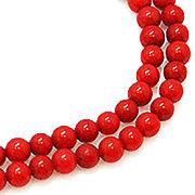 天然石 ビーズライン 卸売  /シーバンブー・海竹珊瑚 赤色・レッド 丸玉ビーズ 4mm