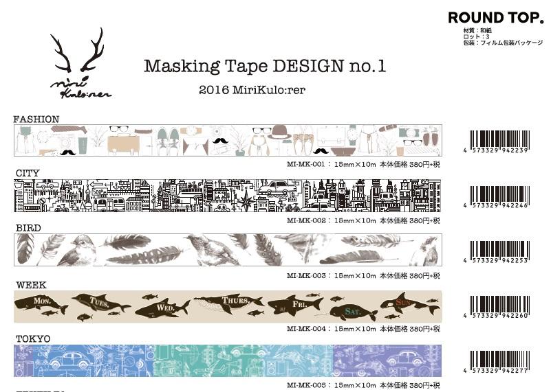 ROUNDTOP 2016 MiriKulo:rer(ミリクローレル)マスキングテープ【2016_5発売】