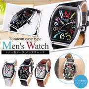 腕時計 メンズ L'etoile レトワール トノー型 遊び心のあるカラフルインデックス AM08