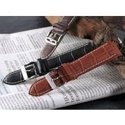 【腕時計 交換用ベルト】本革カーフレザー・クロコ型押し・替えベルト[20mm・22mm×3色] PLCMY35