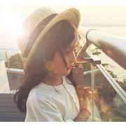 夏新作★韓国風★トッパー★麦わら帽子★日除け帽★リボン付き★ツバ広ハット