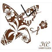 HARRY CLOCK ウォールステッカー 時計付き サーフボード (surfboard) ブラウン 約45×45cm