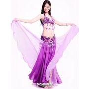a573【ベーリーダンス】ブラ+ベルト+スカートのセット[紫]