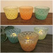 【SALE/値下げ】ヨーロッパ風★ルミナスグラス キャンドルホルダーS♪